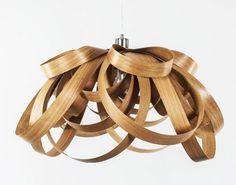lighting design, green lighting, Tom Raffield, wooden lighting, Bloom Light, Large WhiteLight, sustainable wood lamps, sustainable wood