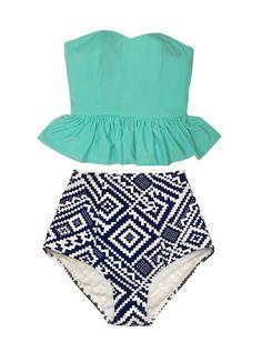 Mint Long Peplum Tankini Tankinis Top and Graphic High Waist Waisted Swimsuit Swimsuits Swimwears Bikini set Bathing Swim wear suit S M L XL