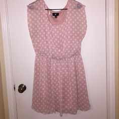 Pink polka dot dress Also on Ⓜ️. OFFERS WELCOME! Light pink dress with white polka dots and underlining. Worn once! Iz Byer Dresses Mini