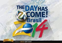 """Brazil 2014 beginning day promo with words """"the time has come: Brazil 2014"""" and official football above grunge background. High quality JPG included. Under Commons 4.0. Attribution License."""