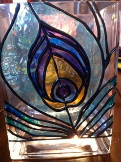 Faux Stained Glass Peacock Feather Vase