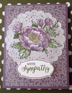 Stampin' Up! Birthday Blooms and Rose Wonder Stamps, Botanical Gardens Vellum in Perfect Plum and Mossy Meadow. Aqua Pen technique.