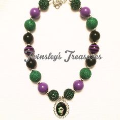Maleficent Chunky Beaded Bubblegum Necklace by TwinsleysTreasures