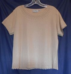 Coral Bay Brown Shimmery Poly Spandex Cutout Trim Neck Arm Hem Short Sl. CLICK to see if this is on SALE!