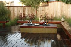 VIROC PLANTERS - Google Search Build Outdoor Kitchen, Fire Pit Landscaping, Backyard Buildings, Built In Seating, Landscaping Supplies, Cedar Fence, Different Plants, Outdoor Furniture Sets, Outdoor Decor