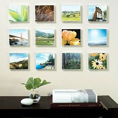 Turn old CD cases into picture frames. They are perfect size for creating a quilt-like grid collection of landscape photos.
