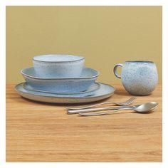 OLMO Light blue speckled pasta plate 22cm   Buy now at Habitat UK
