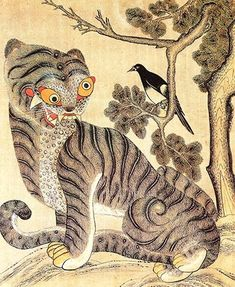 Tiger and Magpie, Minhwa, which commonly refers to a genre of Korean folk art painting from the late Chosŏn era century) Tiger Illustration, Illustration Photo, Illustrations, Japanese Tiger, Japanese Art, Tiger Painting, Painting & Drawing, Korean Art, Asian Art