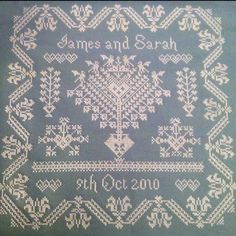 Our wedding sampler, very proud of it. Will look even better when it's framed :)