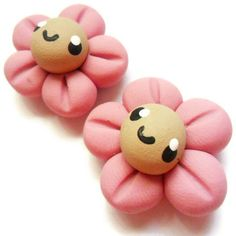 Polymer Clay Kawaii Magnets 2 pcs Pink Smiling by KawaiiBits, $6,00