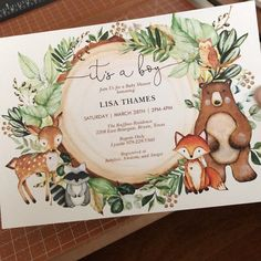 Boy Woodland Baby Shower Invitation. Forest Animals Watercolor   Etsy Baby Shower Templates, Baby Shower Invitation Templates, Baby Shower Invitations For Boys, Baby Shower Printables, Printable Invitations, Lil Man Baby Shower, Boy Baby Shower Themes, Woodland Cake, Woodland Party
