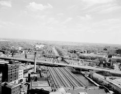 Ottawa from 1961 view to the south from Union Station Ottawa Valley, Old Trains, Union Station, Photo Archive, Railroad Tracks, Ontario, Vintage Photos, Paris Skyline, Canada