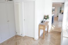 European Oak Herringbone for a Kitchen & Boot Room in Cambridge. The Engineered Oak Herringbone blocks were lacquered with Pallmann Pall-X Pure Lacquer Herringbone, Cambridge, Divider, Pure Products, Boots, Kitchen, Furniture, Home Decor, Crotch Boots