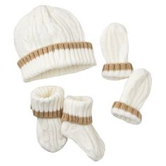 Luvable Friends Knit Hat, Mitten and Bootie Set - Cream 0-6M