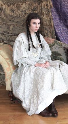 Sarah Jean Culbreth - traditional american clothing, mixture of native american and western.  She says this is an 1830's dress pattern; wondering if it's the Past Patterns Full High Gown.