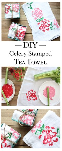 Easy DIY Celery Stamped Tea Towel. I used celery and fabric paint to make this spring time tea towel. It's a great gift idea for Mother's day or just because.