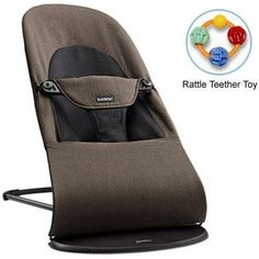 Baby Bjorn Bouncer Balance Soft Organic Cotton - Black Brown with Rattle Teether Toy Baby Bouncer, Comfy Chair, Child Baby, Bouncers, Baby Furniture, Infants, Black And Brown, Leather Backpack, Baby Gifts