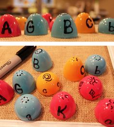 """letter matching game using plastic easter eggs.. I do this during the dinosaur unit.. """"dino eggs"""""""