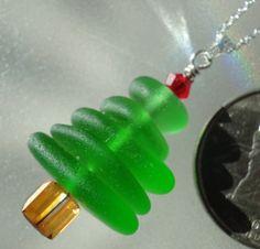 HL Sea Glass & Beach Glass Jewelry, Swarovski sea glass Christmas tree necklace!