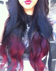 Black & Red ombre. Long hair. dark color.