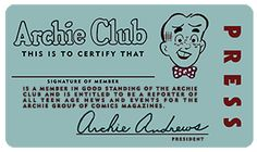 Archie Andrews 'Archie Club' Membership Card, circa 1956