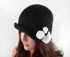 Crochet Cloche Hat with Flower  Black by UnlimitedCraftworks, $42.00