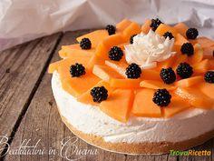 Torta fredda al melone  #ricette #food #recipes Cheesecake, Desserts, Food, Cream, Tailgate Desserts, Deserts, Cheesecakes, Essen, Postres