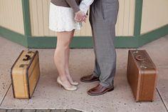 Vintage travel engagement shoot ideas! Heather + James. Now on Head Over Heels Wedding Blog (via Heidi-O-Photography) http://www.perfectweddingguide.com/wedding-blog/index.php/2012/12/13/vintage-travel-themed-engagement-photo-shoot-heather-james/