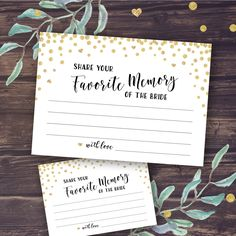 My Favorite Memory of the Bride Card Printable, Wedding Shower Games Instant Download, Bridal Shower Activity, Memories of Newlyweds, Gold by PineappleDesignCo on Etsy https://www.etsy.com/listing/457076056/my-favorite-memory-of-the-bride-card