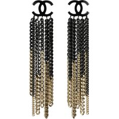 Earrings ❤ liked on Polyvore featuring jewelry, earrings, accessories, chanel, black, metal jewelry, chain earrings, metal earrings, two tone jewelry and chains jewelry