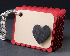 Raised Heart Valentine Gift Tags or Package Labels in  Black & KRAFT on Red (Qty. 6)