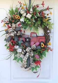 Red Truck Wreath, Red Truck Spring and Summer Wreath, Sunflower Red Truck Wreath, Sunflower Wreath, Sassy Doors Wreath, Farmhouse Wreath