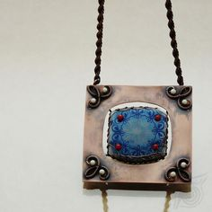 Traditional blue (necklace); handmade unique porcelain cabochon by SarkaS; copper frame enhanced by red and white coral and patina; by Nady.cz