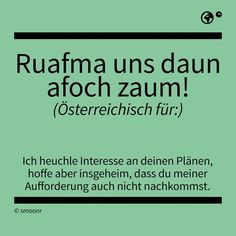 Ruafma uns daun afoch zaum! Pure Fun, True Words, Satire, Funny Cute, True Stories, Austria, I Laughed, Meant To Be, Language