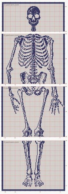 Skeleton scarf: crochet filet pattern. Description and link on how to follow russian chart.