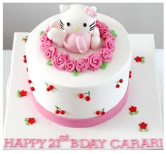 round cake with inch in height. Hello Kitty Torte, Bolo Da Hello Kitty, Hello Kitty Birthday Cake, Pig Birthday Cakes, Hello Kitty Cupcakes, 50 Birthday, Anniversaire Hello Kitty, Baby Girl Cakes, Birthday Cakes