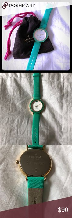 "Kate Spade ♠️ Leather Mint Metro Watch Never been worn Kate Spade ♠️Metro Watch  Leather straps  34mm face  Mint green straps and mint green ♠️ on face  19"" length  1/2"" thick band width  ❗️Needs new battery kate spade Accessories Watches"