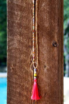 Multicolor Tassel Necklace Long Sandalwood door HappyGoLuckyJewels