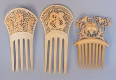 Chinese ivory export combs, c. 1890