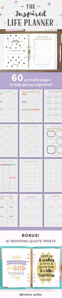 This printable life planner kit with 60 PDF pages will help you keep track of various areas in your life and as a result help you feel more organised and less stressed.   Various planning pages are included: from goals, planning, and to-do lists to finance, health and fitness trackers. There are three different sizes to choose from: A4 / A5 / US Letter.   You'll also get 16 inspiring quotes with your purchase! Click here to see more.