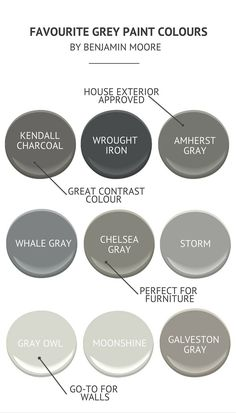 Favourite Grey Paint Colours by Benjamin Moore Chelsea Gray for cabinets? See the how to paint cabinets post