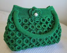 Crochet Shell Stitch, Bead Crochet, Crochet Crafts, Crochet Stitches, Crochet Projects, Crochet Patterns, Crochet Handbags, Crochet Purses, Crochet Rings