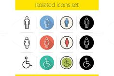 WC door signs. 12 icons set. Vector. Human Icons. $4.00