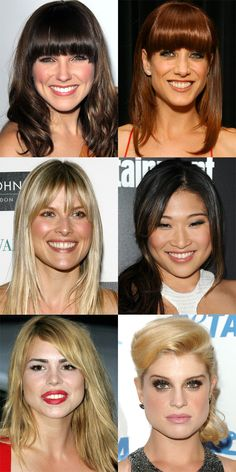 The Best (and Worst) Bangs for Pear-Shaped Faces - Beauty Editor: Celebrity Beauty Secrets, Hairstyles Haircuts For Long Hair With Bangs, Trendy Haircuts, Hairstyles With Bangs, Straight Hairstyles, Cool Hairstyles, Hairstyle Ideas, Pear Shaped Face, How To Cut Bangs, Corte Bob
