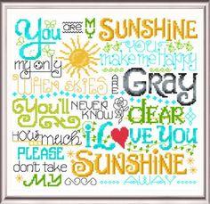 Lets Be My Sunshine - 'Words' cross stitch pattern designed by Ursula Michael.