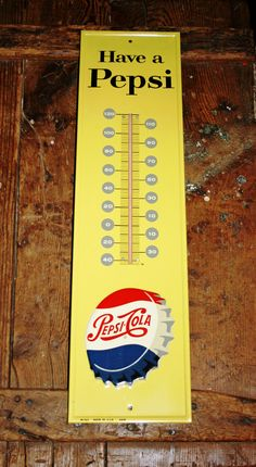 Large Vintage Metal Pepsi Sign Thermometer by Vintage by Lynn Ann via Etsy