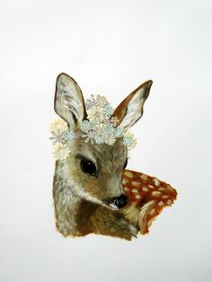 ANNE SIEMS - Flower Fawn (2012) - mixed media on paper