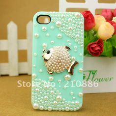 Free shipping/Rhinestone beling Crystal Diamond pearl 3D lovely fish,6colours,Hard cell phone Case Cover for iphone4G/4S