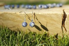 Sodalite Round Beads Gemstone Sterling Silver Earrings. $15.00 USD. www. etsy.com/shop/MountainRoseJewelry