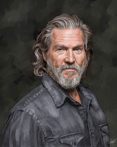 Digital painting using portrait from photographer Axel Dupeux as reference. Photo is way better but I couldn't resist the challenge. Beard Styles For Men, Hair And Beard Styles, Long Hair Styles, Jeff Bridges, Grey Hair Men, Men Hair, Older Mens Hairstyles, Interesting Faces, Male Face